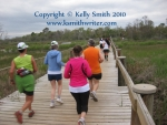 A group of runners on the first loop of the Seabrook Half Marathon