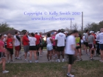Runners waiting at the starting line at the 2010 Seabrook Lucky Trails Half Marathon
